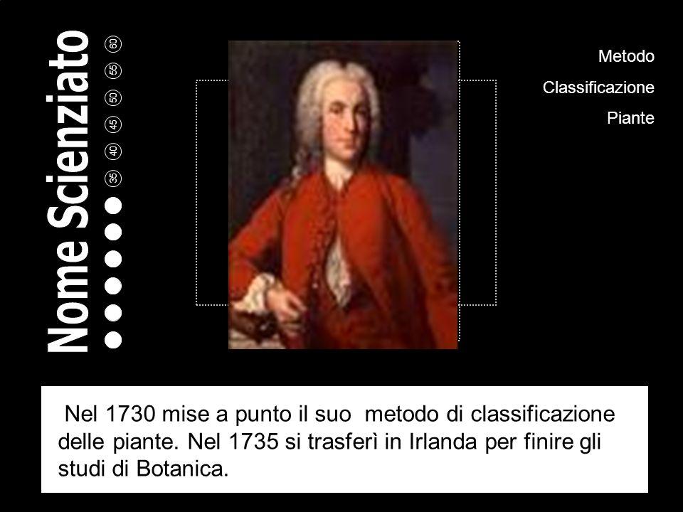 Metodo Classificazione Piante Nel 1730 mise a punto il suo metodo di classificazione delle piante.