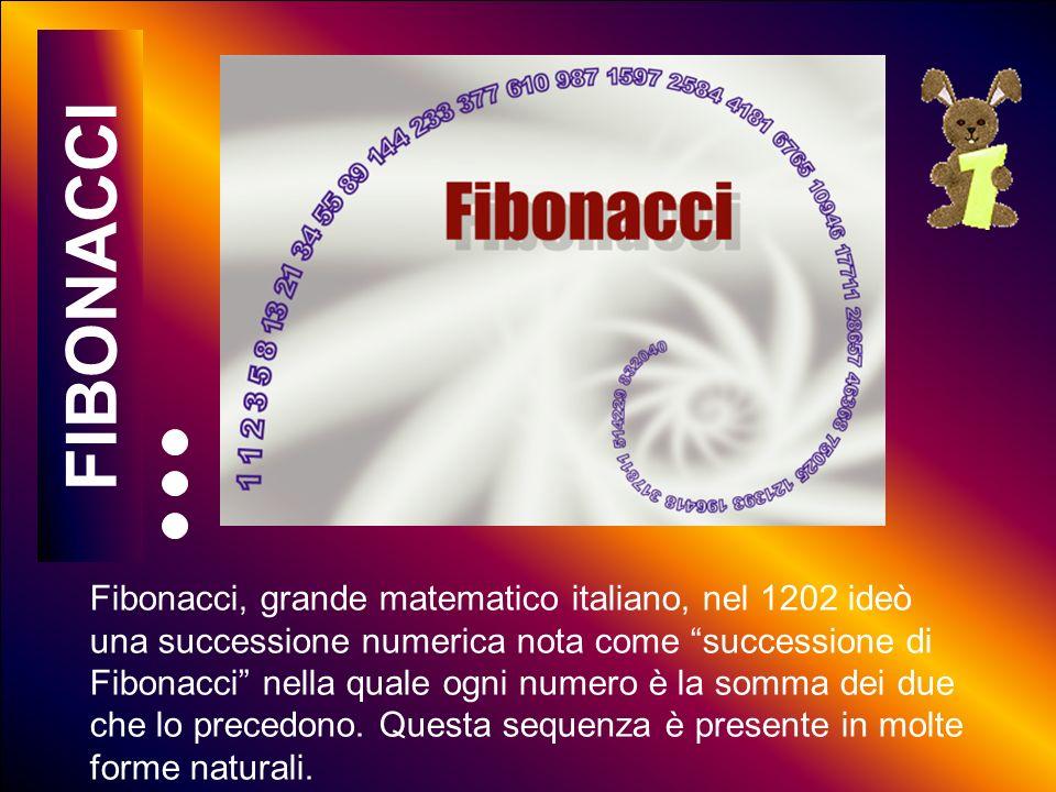 5 10 15 20 25 30 35 40 45 50 55 60 Fibonacci, grande matematico italiano, nel 1202 ideò una successione numerica nota come successione di Fibonacci nella quale ogni numero è la somma dei due che lo precedono.