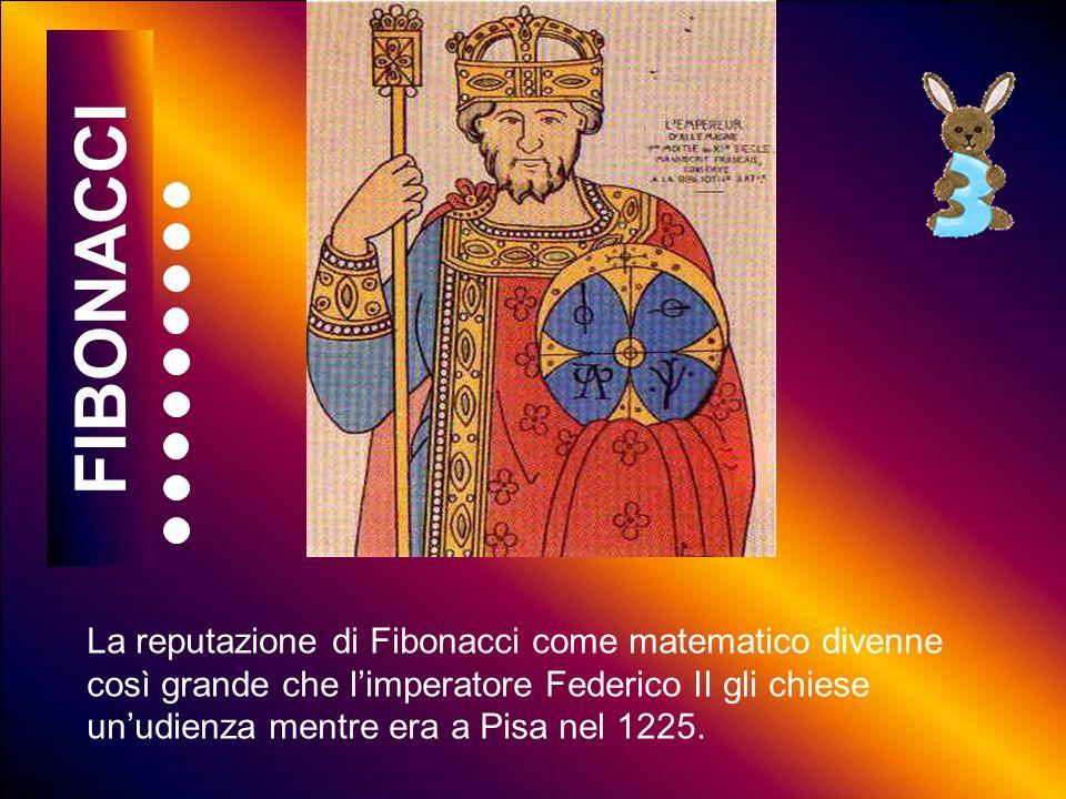 5 10 15 20 25 30 35 40 45 50 55 60 La reputazione di Fibonacci come matematico divenne così grande che limperatore Federico II gli chiese unudienza mentre era a Pisa nel 1225.