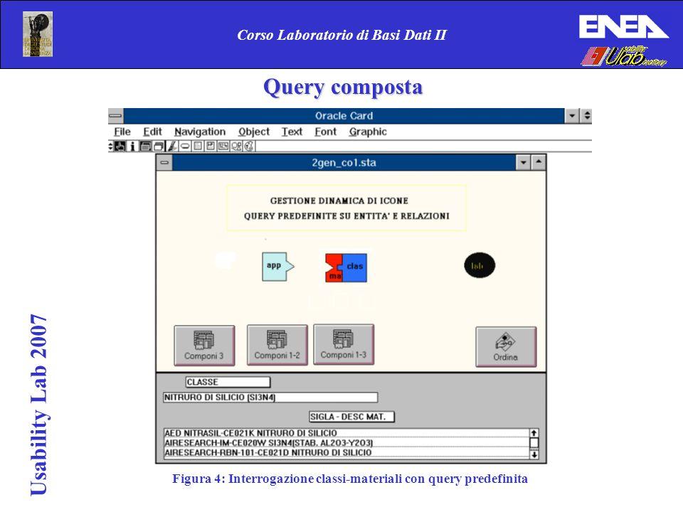 Usability Lab 2007 Corso Laboratorio di Basi Dati II Figura 4: Interrogazione classi-materiali con query predefinita Query composta