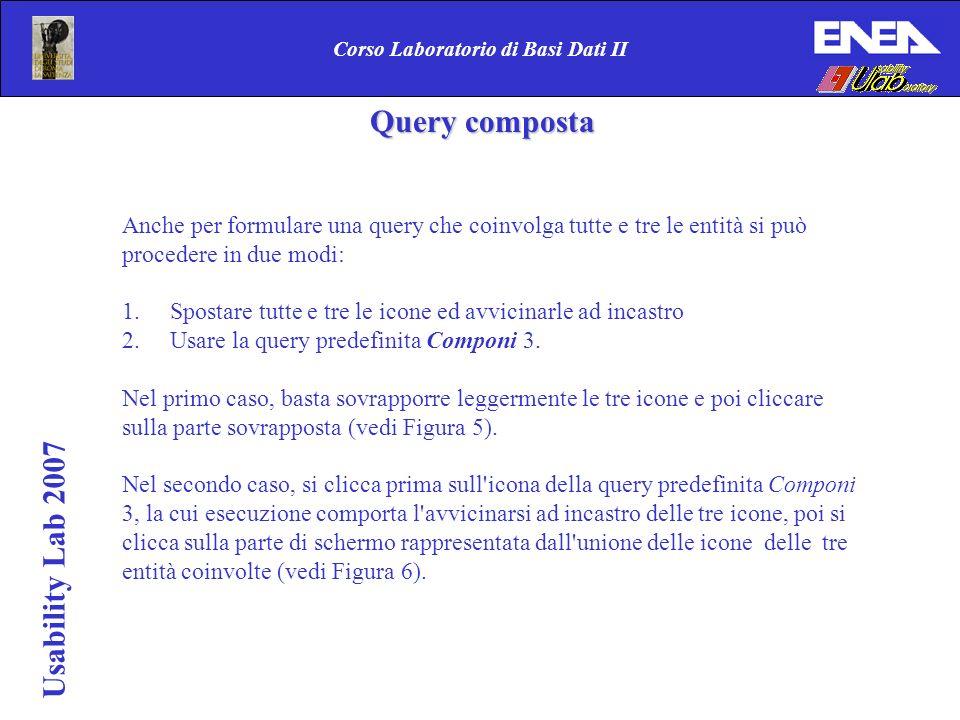 Usability Lab 2007 Corso Laboratorio di Basi Dati II Anche per formulare una query che coinvolga tutte e tre le entità si può procedere in due modi: 1.Spostare tutte e tre le icone ed avvicinarle ad incastro 2.Usare la query predefinita Componi 3.