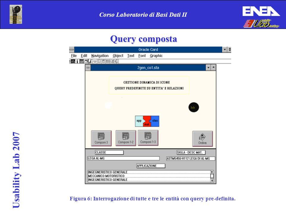 Usability Lab 2007 Corso Laboratorio di Basi Dati II Figura 6: Interrogazione di tutte e tre le entità con query pre-definita. Query composta