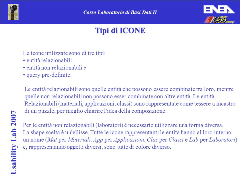 Usability Lab 2007 Corso Laboratorio di Basi Dati II Tipi di ICONE Tipi di ICONE Le icone utilizzate sono di tre tipi: entità relazionabili, entità no