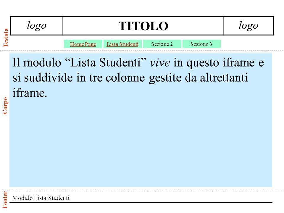 Modulo Lista Studenti Il modulo Lista Studenti vive in questo iframe e si suddivide in tre colonne gestite da altrettanti iframe.