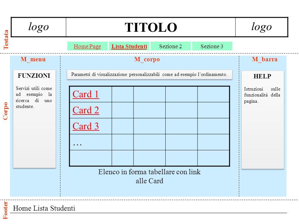 Card Lista Studenti logo TITOLO logo Home PageLista StudentiSezione 2Sezione 3 Testata Corpo Footer M_menuM_barraM_corpo HELP Istruzioni sulle funzionalità della pagina.