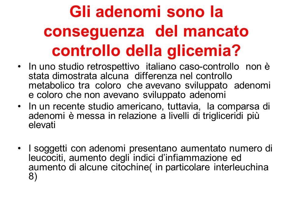 Gli adenomi sono la conseguenza del mancato controllo della glicemia? In uno studio retrospettivo italiano caso-controllo non è stata dimostrata alcun