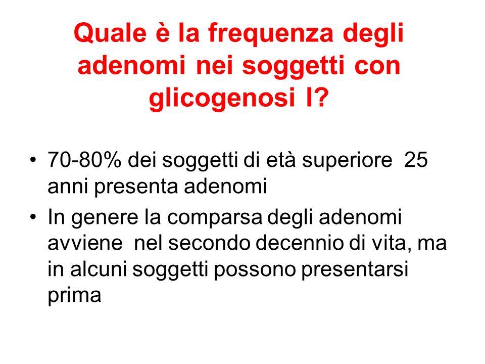 Quale è la frequenza degli adenomi nei soggetti con glicogenosi I? 70-80% dei soggetti di età superiore 25 anni presenta adenomi In genere la comparsa