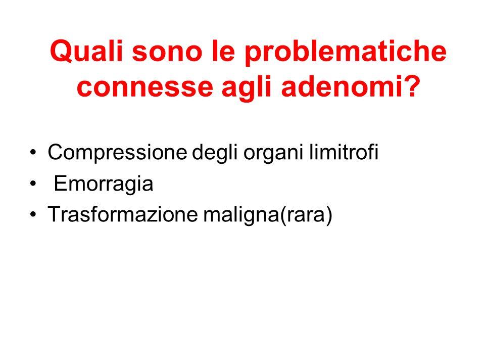 Quali sono le problematiche connesse agli adenomi? Compressione degli organi limitrofi Emorragia Trasformazione maligna(rara)