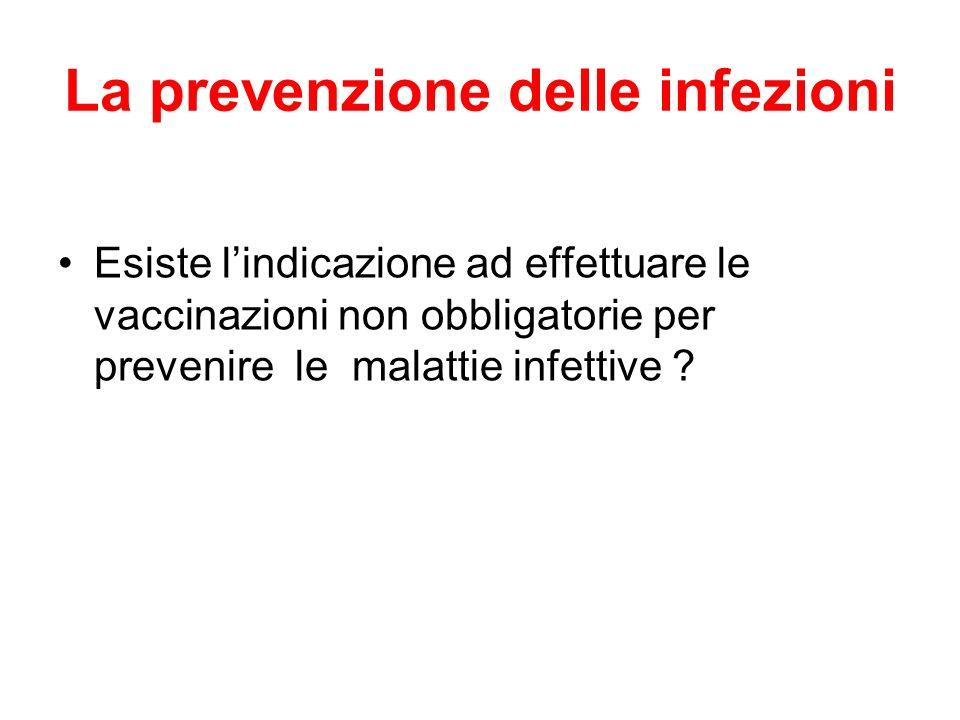 La prevenzione delle infezioni Esiste lindicazione ad effettuare le vaccinazioni non obbligatorie per prevenire le malattie infettive ?