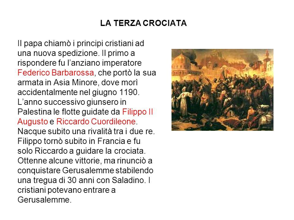 LA TERZA CROCIATA Il papa chiamò i principi cristiani ad una nuova spedizione. Il primo a rispondere fu lanziano imperatore Federico Barbarossa, che p