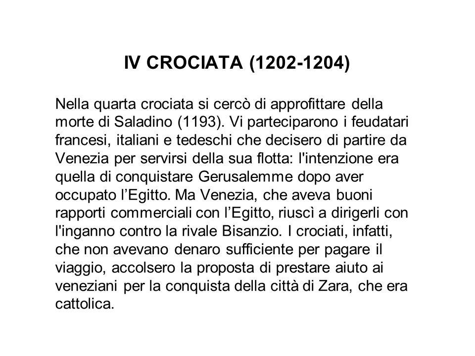 ALLA FINE DEL XII SEC., PAPA INNOCENZO III, Nella quarta crociata si cercò di approfittare della morte di Saladino (1193). Vi parteciparono i feudatar