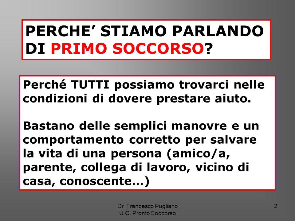 33 Rianimazione cardiopolmonare Dr. Francesco Pugliano U.O. Pronto Soccorso