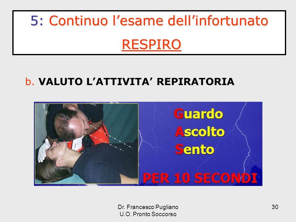 30 b. VALUTO LATTIVITA REPIRATORIA 5:Continuo lesame dellinfortunato 5: Continuo lesame dellinfortunato RESPIRO Dr. Francesco Pugliano U.O. Pronto Soc