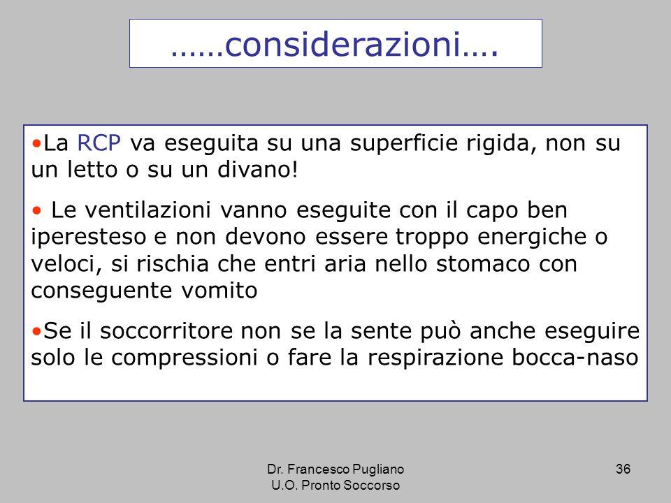 36 ……considerazioni…. La RCP va eseguita su una superficie rigida, non su un letto o su un divano! Le ventilazioni vanno eseguite con il capo ben iper
