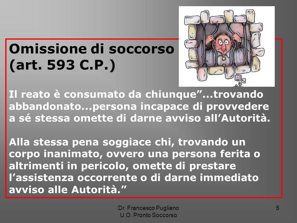 5 Omissione di soccorso (art. 593 C.P.) Il reato è consumato da chiunque...trovando abbandonato...persona incapace di provvedere a sé stessa omette di