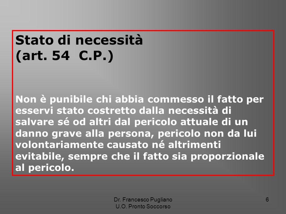6 Stato di necessità (art. 54 C.P.) Non è punibile chi abbia commesso il fatto per esservi stato costretto dalla necessità di salvare sé od altri dal