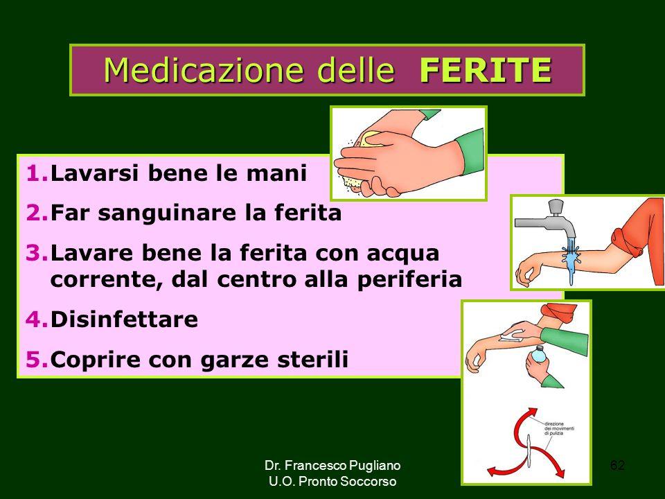 62 Medicazione delle FERITE 1.Lavarsi bene le mani 2.Far sanguinare la ferita 3.Lavare bene la ferita con acqua corrente, dal centro alla periferia 4.