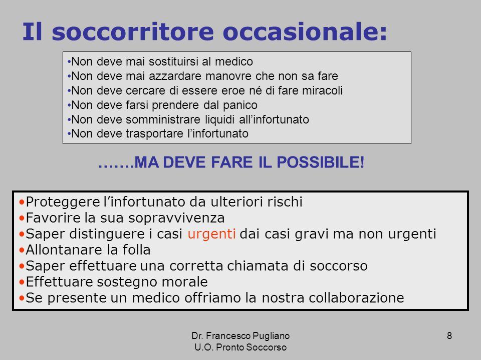 9 URGENZA: la vita dellinfortunato è in pericolo bisogna intervenire immediatamente GRAVITA: non comporta necessariamente lurgenza, aspettiamo il soccorso qualificato Dr.