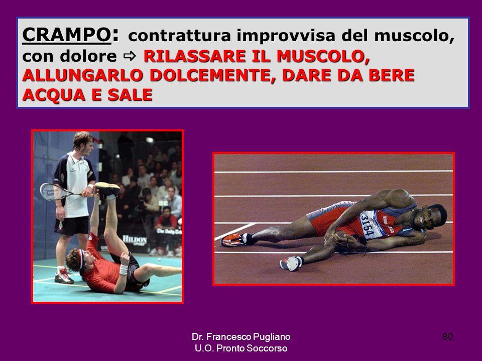 80 CRAMPO : RILASSARE IL MUSCOLO, ALLUNGARLO DOLCEMENTE, DARE DA BERE ACQUA E SALE CRAMPO : contrattura improvvisa del muscolo, con dolore RILASSARE I