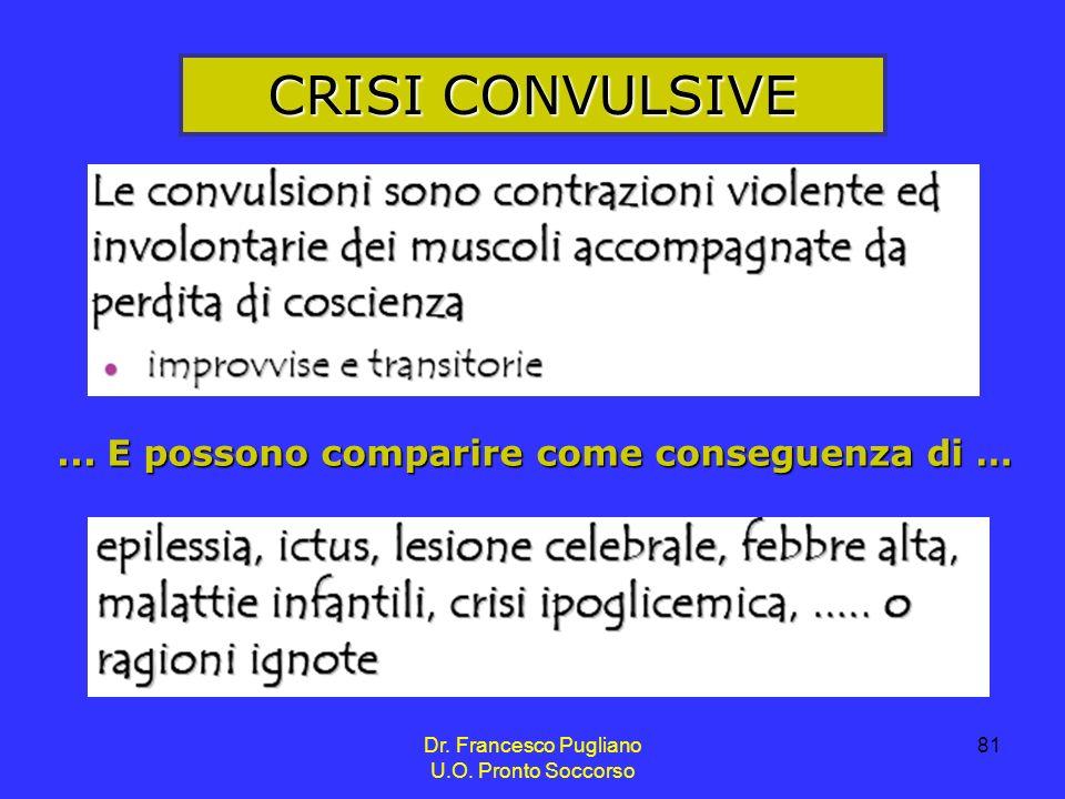 81 CRISI CONVULSIVE... E possono comparire come conseguenza di … Dr. Francesco Pugliano U.O. Pronto Soccorso
