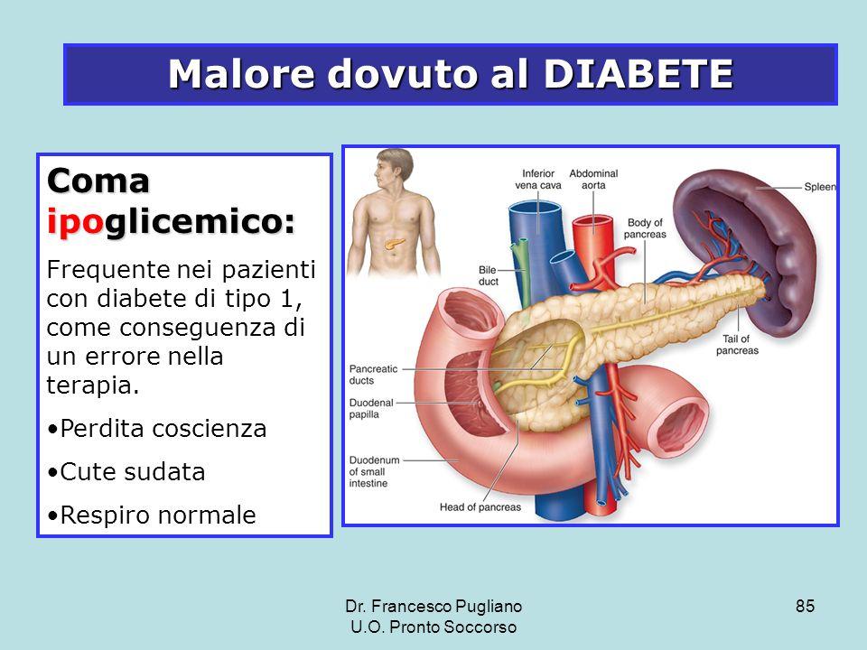 85 Malore dovuto al DIABETE Coma ipoglicemico: Frequente nei pazienti con diabete di tipo 1, come conseguenza di un errore nella terapia. Perdita cosc
