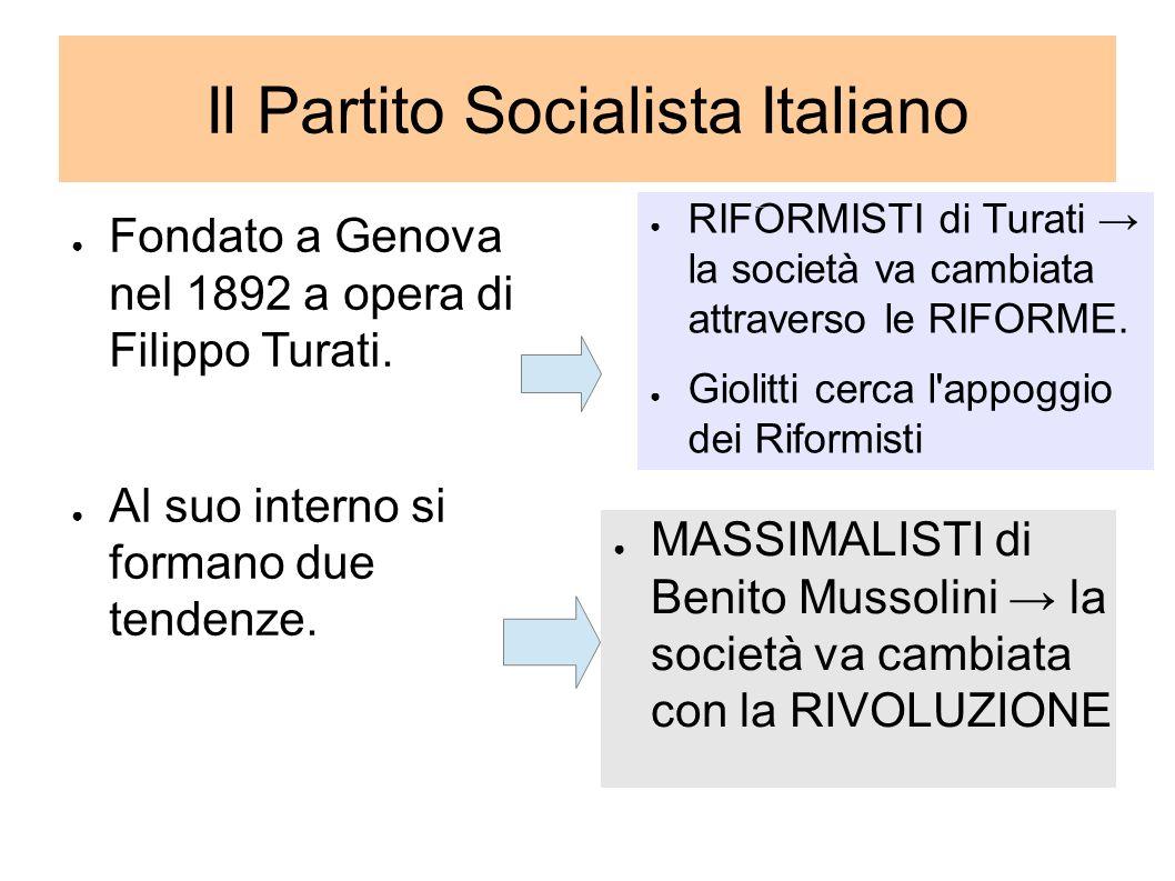 Il Partito Socialista Italiano Fondato a Genova nel 1892 a opera di Filippo Turati. Al suo interno si formano due tendenze. RIFORMISTI di Turati la so