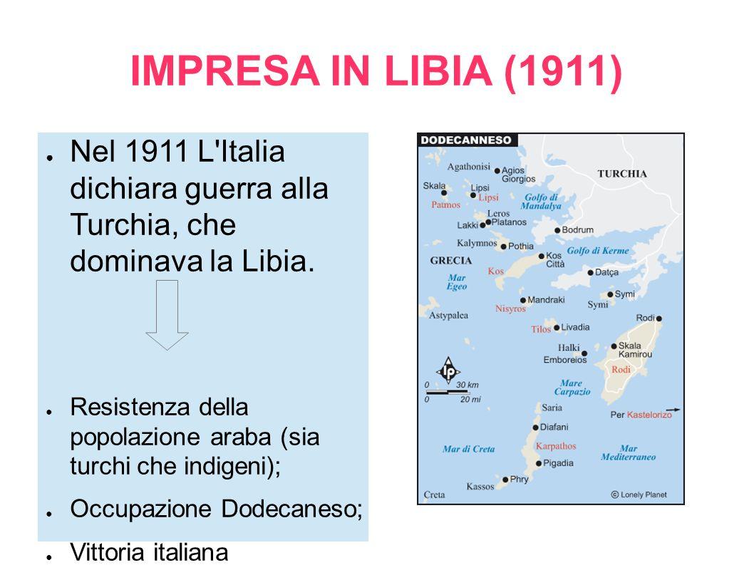 IMPRESA IN LIBIA (1911) Nel 1911 L'Italia dichiara guerra alla Turchia, che dominava la Libia. Resistenza della popolazione araba (sia turchi che indi
