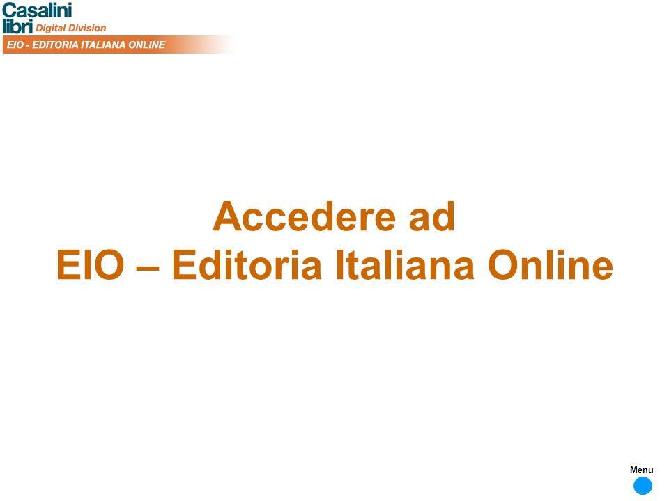 Accedere ad EIO – Editoria Italiana Online Menu