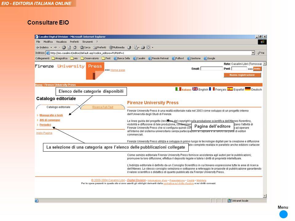 Elenco delle categorie disponibili La selezione di una categoria apre lelenco delle pubblicazioni collegate Consultare EIO Pagina delleditore Menu