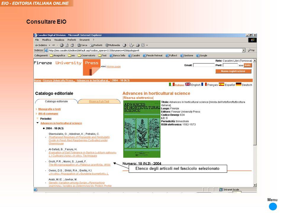 Elenco degli articoli nel fascicolo selezionato Consultare EIO Menu