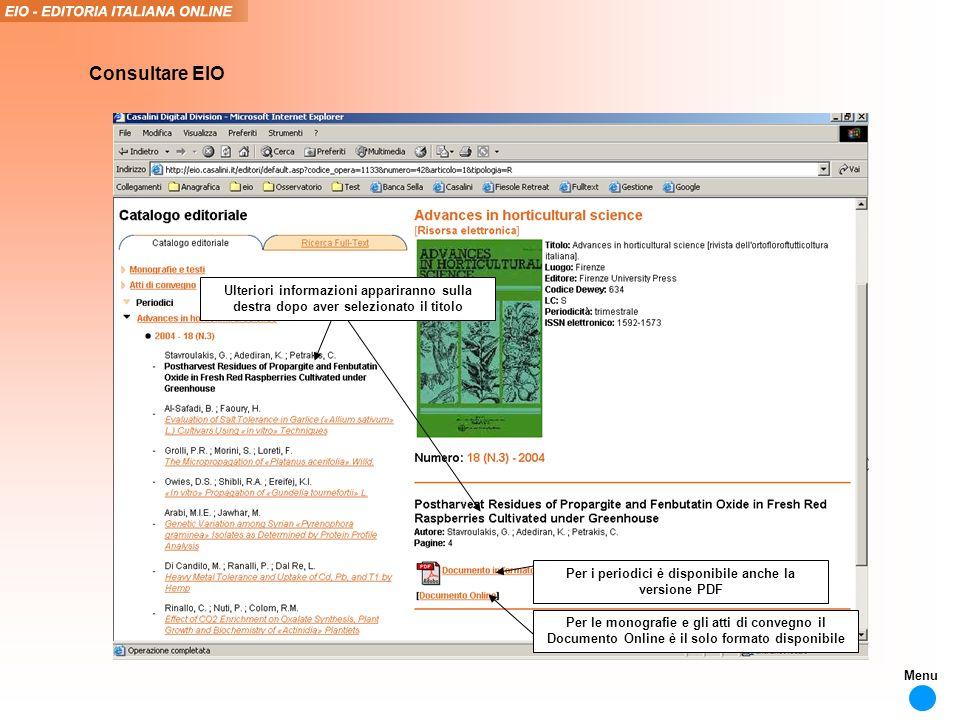 Per i periodici è disponibile anche la versione PDF Consultare EIO Ulteriori informazioni appariranno sulla destra dopo aver selezionato il titolo Per le monografie e gli atti di convegno il Documento Online è il solo formato disponibile Menu