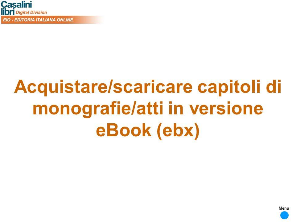 Acquistare/scaricare capitoli di monografie/atti in versione eBook (ebx) Menu