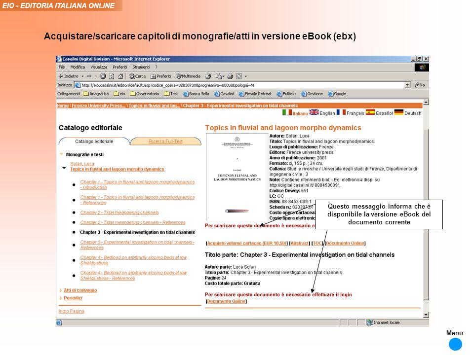Questo messaggio informa che è disponibile la versione eBook del documento corrente Acquistare/scaricare capitoli di monografie/atti in versione eBook (ebx) Menu