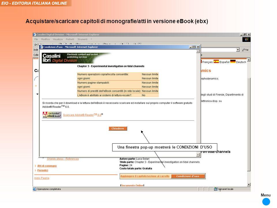 Una finestra pop-up mostrerà le CONDIZIONI DUSO Acquistare/scaricare capitoli di monografie/atti in versione eBook (ebx) Menu