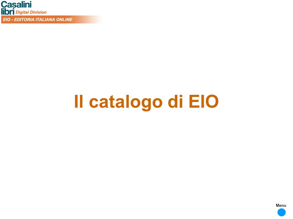 Il catalogo di EIO Menu