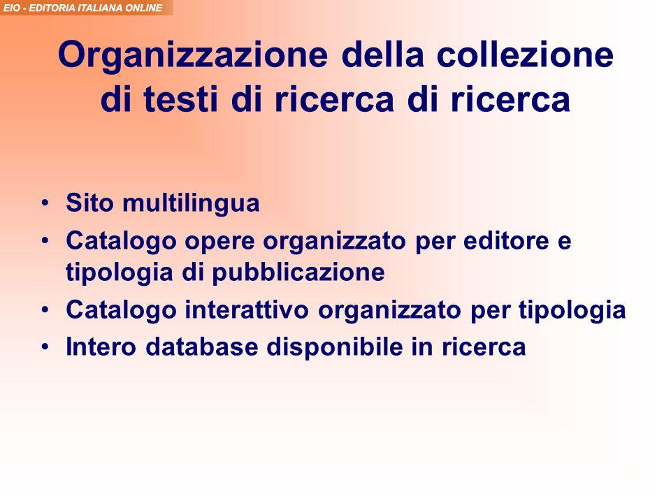 Organizzazione della collezione di testi di ricerca di ricerca Sito multilingua Catalogo opere organizzato per editore e tipologia di pubblicazione Catalogo interattivo organizzato per tipologia Intero database disponibile in ricerca