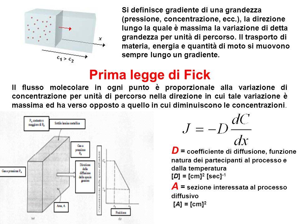 Prima legge di Fick Il flusso molecolare in ogni punto è proporzionale alla variazione di concentrazione per unità di percorso nella direzione in cui