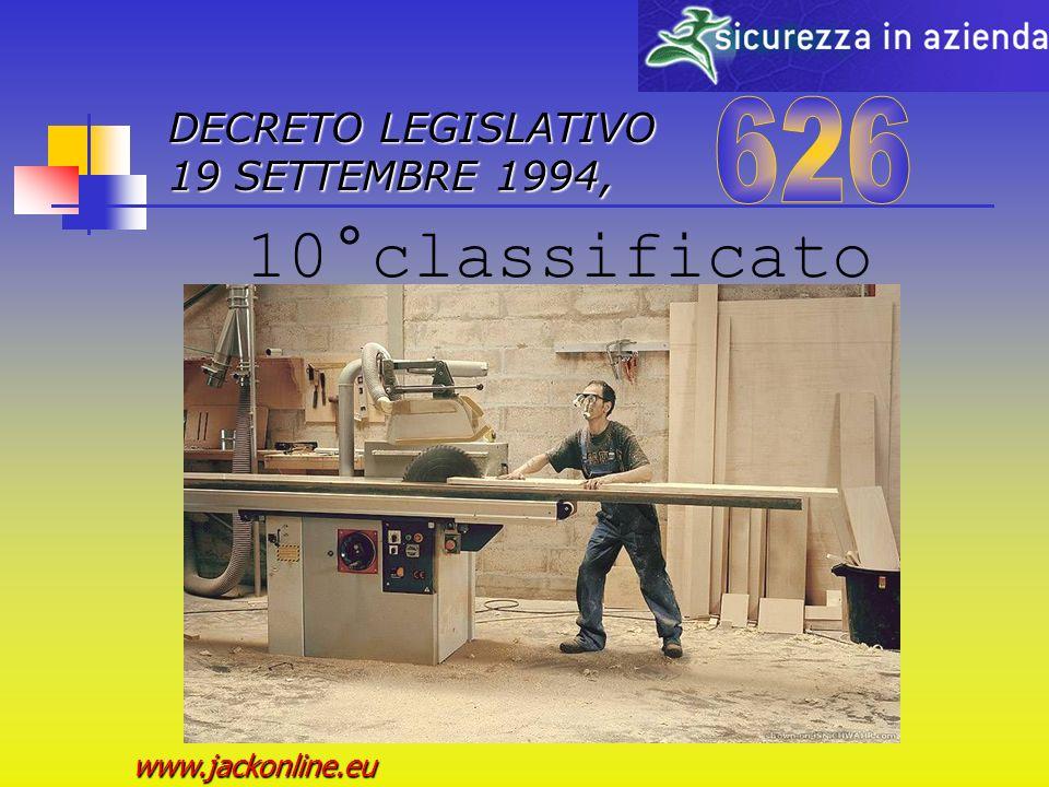 DECRETO LEGISLATIVO 19 SETTEMBRE 1994, www.jackonline.eu Menzione speciale della Giuria...