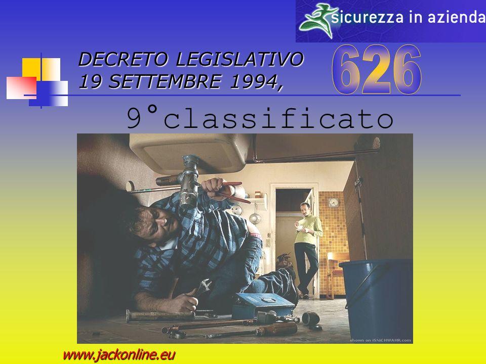 DECRETO LEGISLATIVO 19 SETTEMBRE 1994, www.jackonline.eu 8°classificato