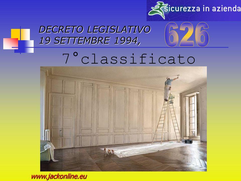 DECRETO LEGISLATIVO 19 SETTEMBRE 1994, www.jackonline.eu 6°classificato