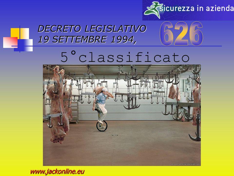DECRETO LEGISLATIVO 19 SETTEMBRE 1994, www.jackonline.eu 4° classificato