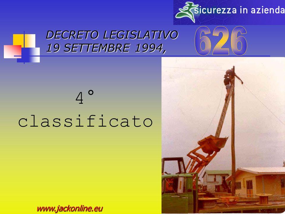 DECRETO LEGISLATIVO 19 SETTEMBRE 1994, www.jackonline.eu 3° classificato