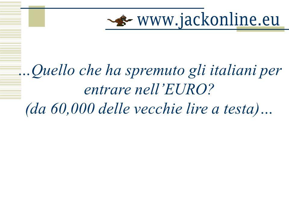 …Quello che ha spremuto gli italiani per entrare nellEURO? (da 60,000 delle vecchie lire a testa)…