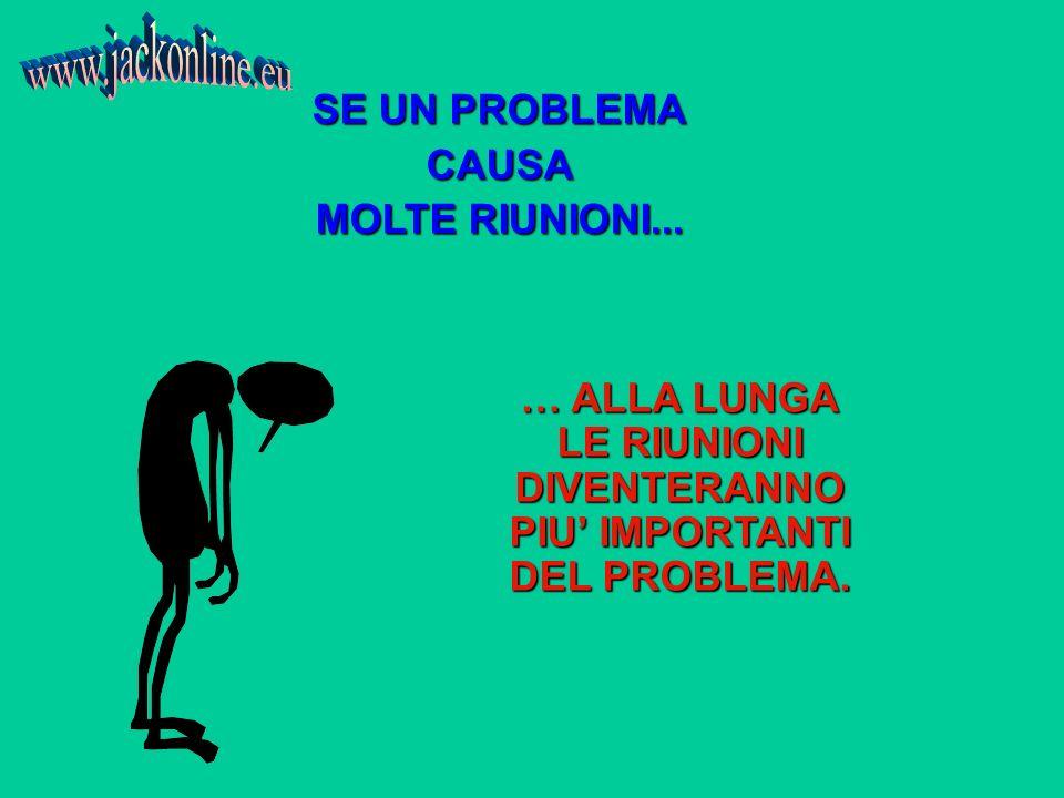 SE UN PROBLEMA CAUSA MOLTE RIUNIONI... … ALLA LUNGA LE RIUNIONI DIVENTERANNO PIU IMPORTANTI DEL PROBLEMA.