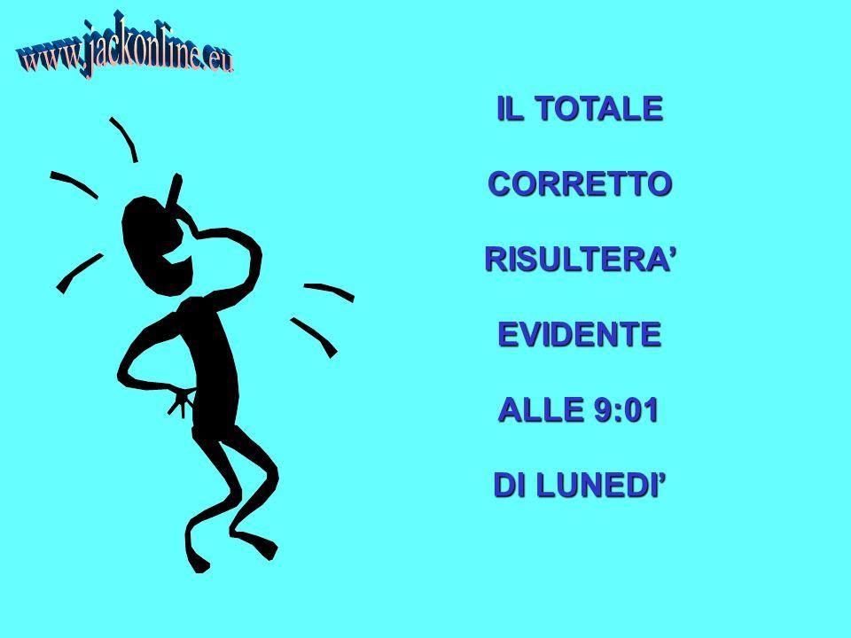 IL TOTALE CORRETTORISULTERAEVIDENTE ALLE 9:01 DI LUNEDI