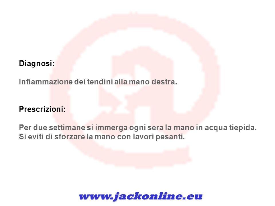 www.jackonline.eu Diagnosi: Infiammazione dei tendini alla mano destra.