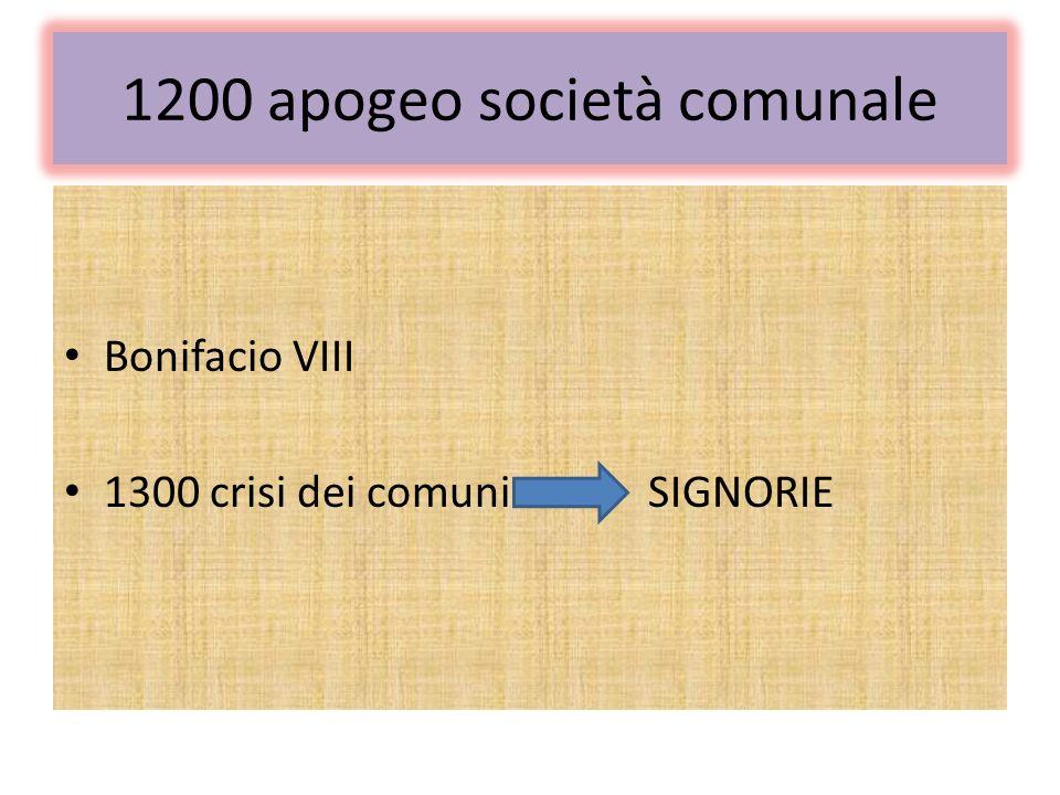 1200 apogeo società comunale Bonifacio VIII 1300 crisi dei comuni SIGNORIE