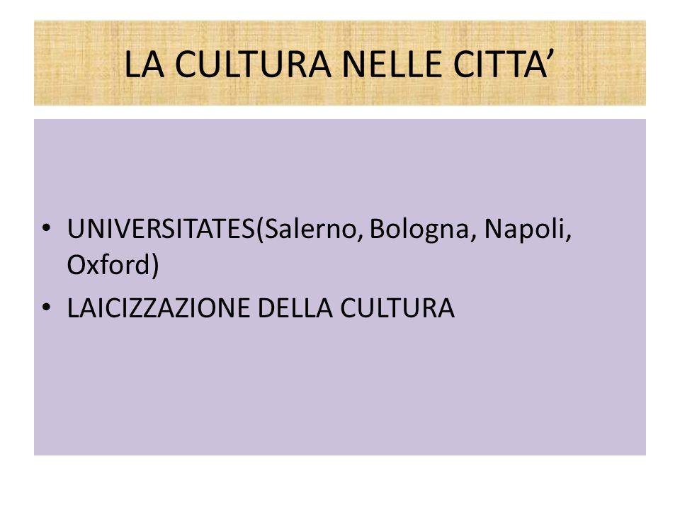 LA CULTURA NELLE CITTA UNIVERSITATES(Salerno, Bologna, Napoli, Oxford) LAICIZZAZIONE DELLA CULTURA