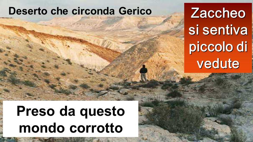 Preso da questo mondo corrotto Zaccheo si sentiva piccolo di vedute Deserto che circonda Gerico
