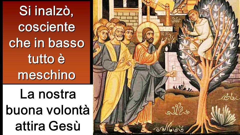 Si inalzò, cosciente che in basso tutto è meschino La nostra buona volontà attira Gesù